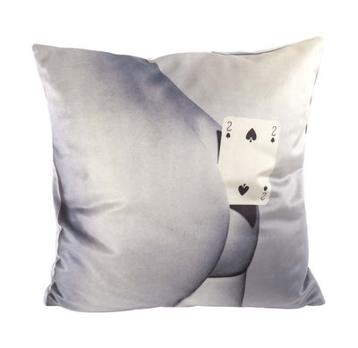 Interni - Cuscini  - Cuscino Toiletpaper - / Due di picche - 50 x 50 cm di Seletti - Due di picche / Nero & bianco - Piuma, Tessuto poliestere