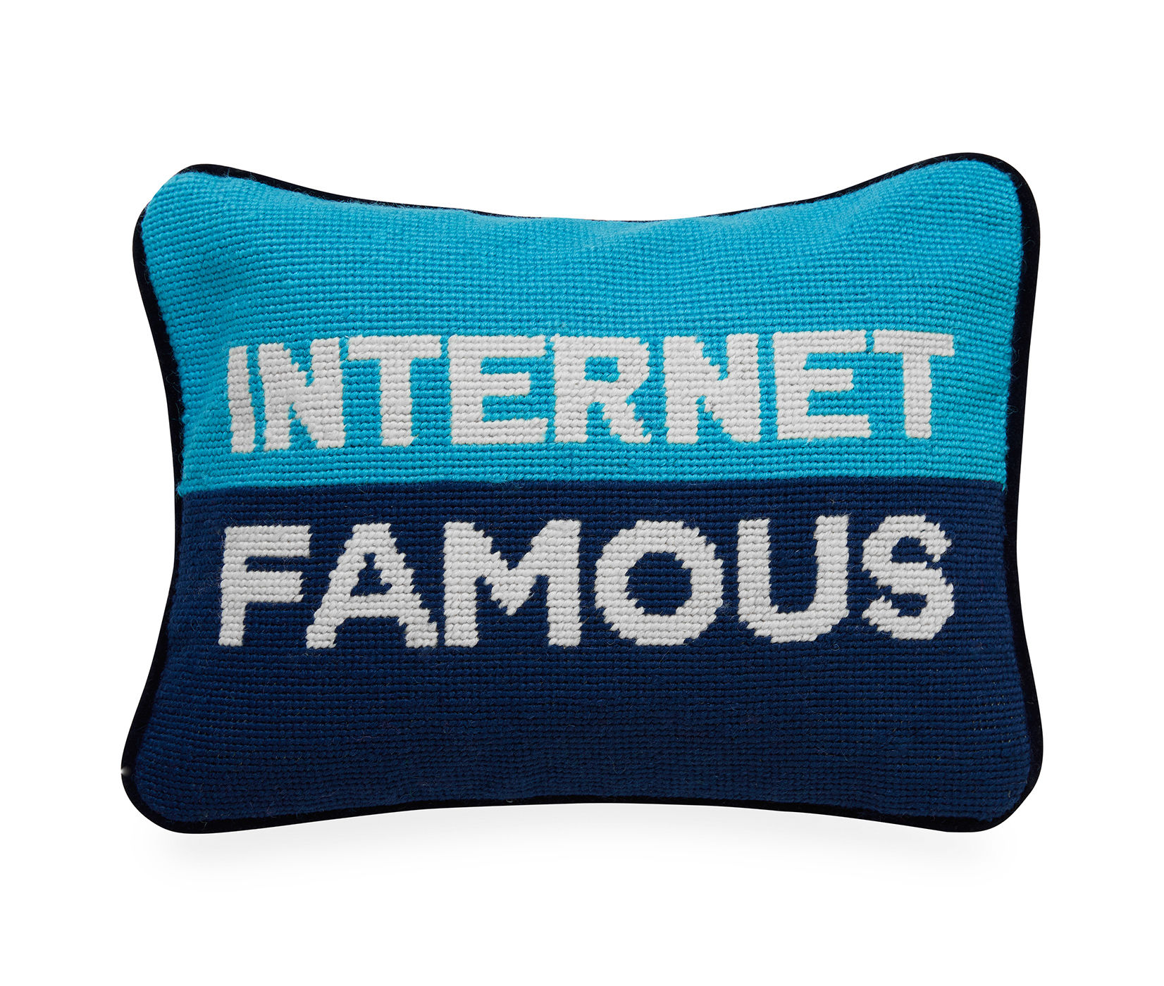 Decoration - Cushions & Poufs - Internet Cushion - / 30.5 x 23 cm - Hand-embroidered by Jonathan Adler - Turquoise blue & navy blue -  Duvet,  Plumes, Velvet, Wool