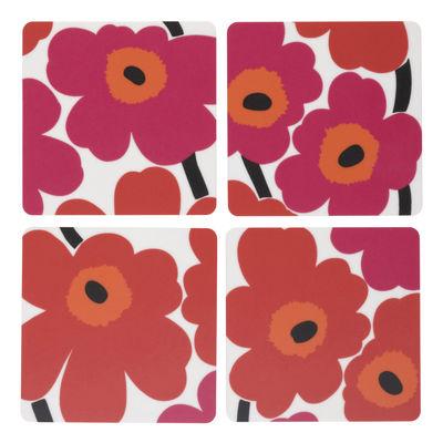 Arts de la table - Verres  - Dessous de verre Unikko / Set de 4 - Marimekko - Unikko / Rouge - Contreplaqué de bois
