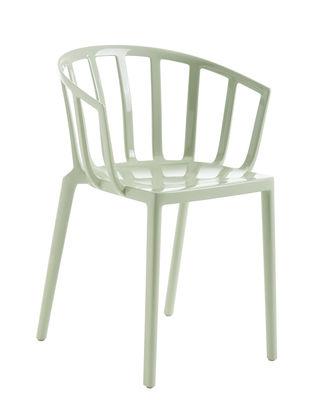 Mobilier - Chaises, fauteuils de salle à manger - Fauteuil empilable Generic AC Venice / Polycarbonate brillant - Kartell - Vert sauge brillant - Polycarbonate