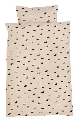 Decoration - Children's Home Accessories - Rabbit Kid bedlinen set - Junior - 100 x 140 cm by Ferm Living - 100 x 140 cm - Pink & Black - Cotton