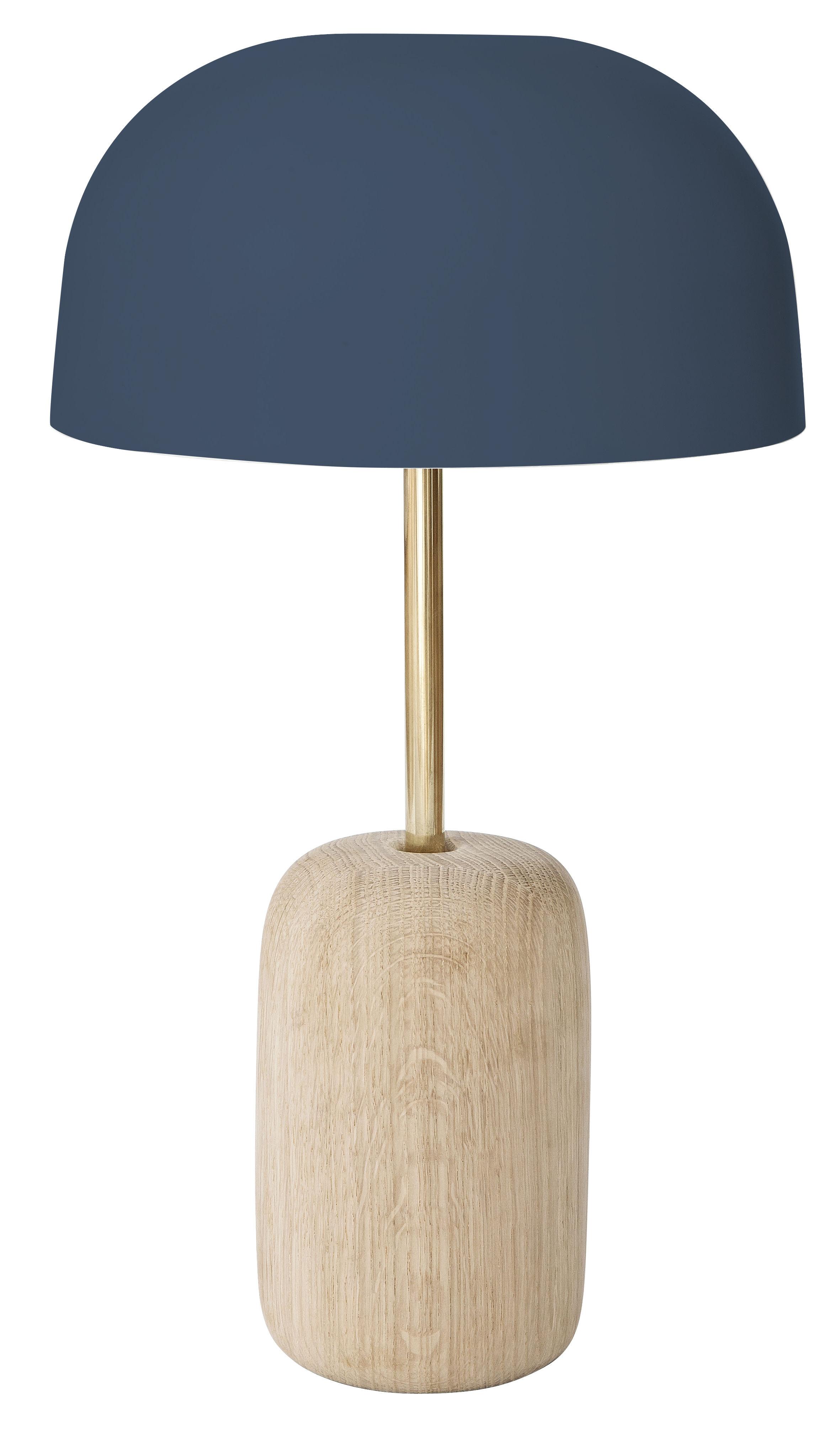 Luminaire - Lampes de table - Lampe de table Nina / Chêne & métal - Hartô - Bleu gris / Chêne & laiton - Chêne massif, Laiton, Métal laqué