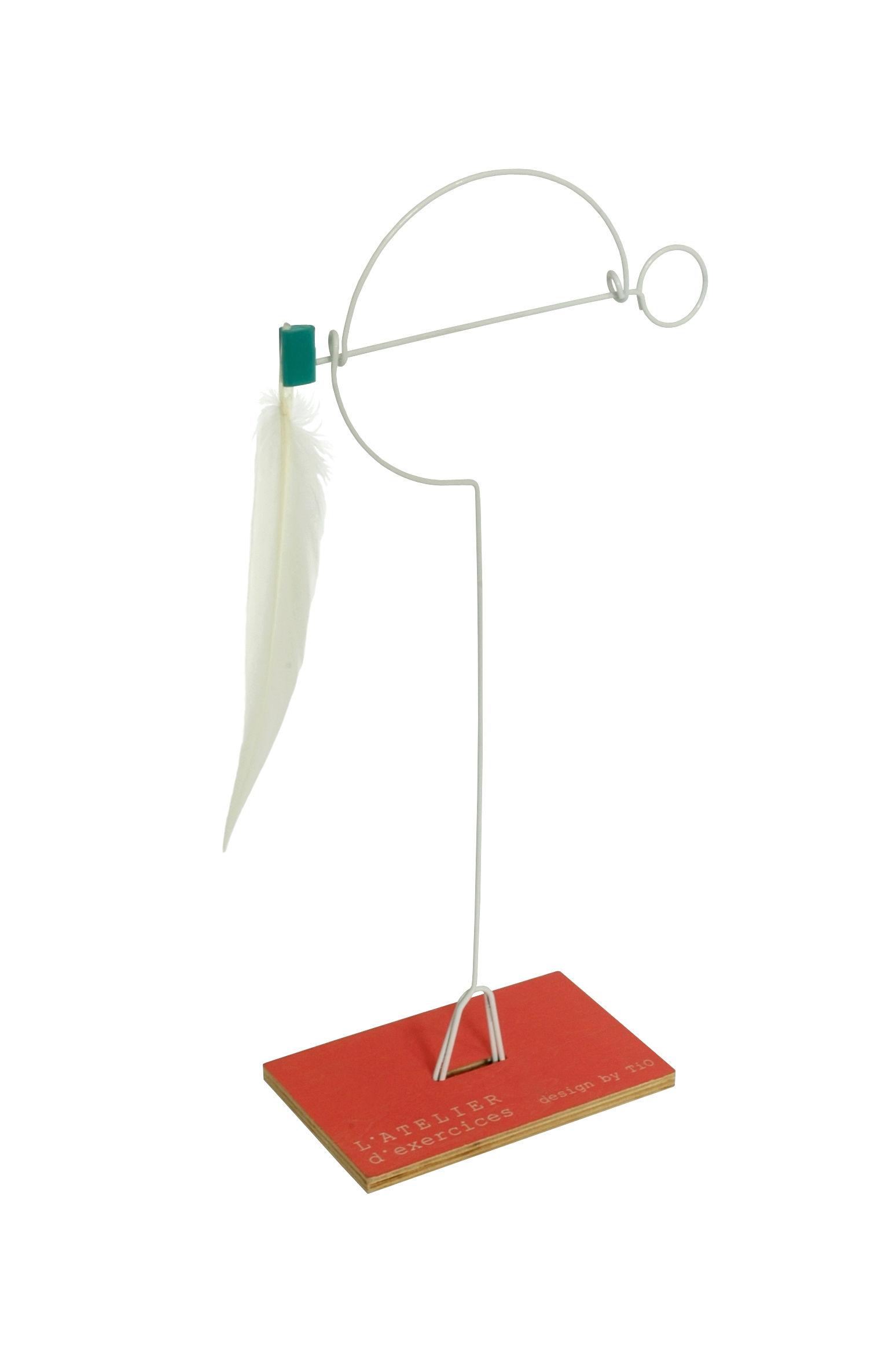 Dekoration - Für Kinder - Mono-plume Mobile zum Hinstellen - L'atelier d'exercices - Metall - Feder weiß - Daune, Holz, Stahl