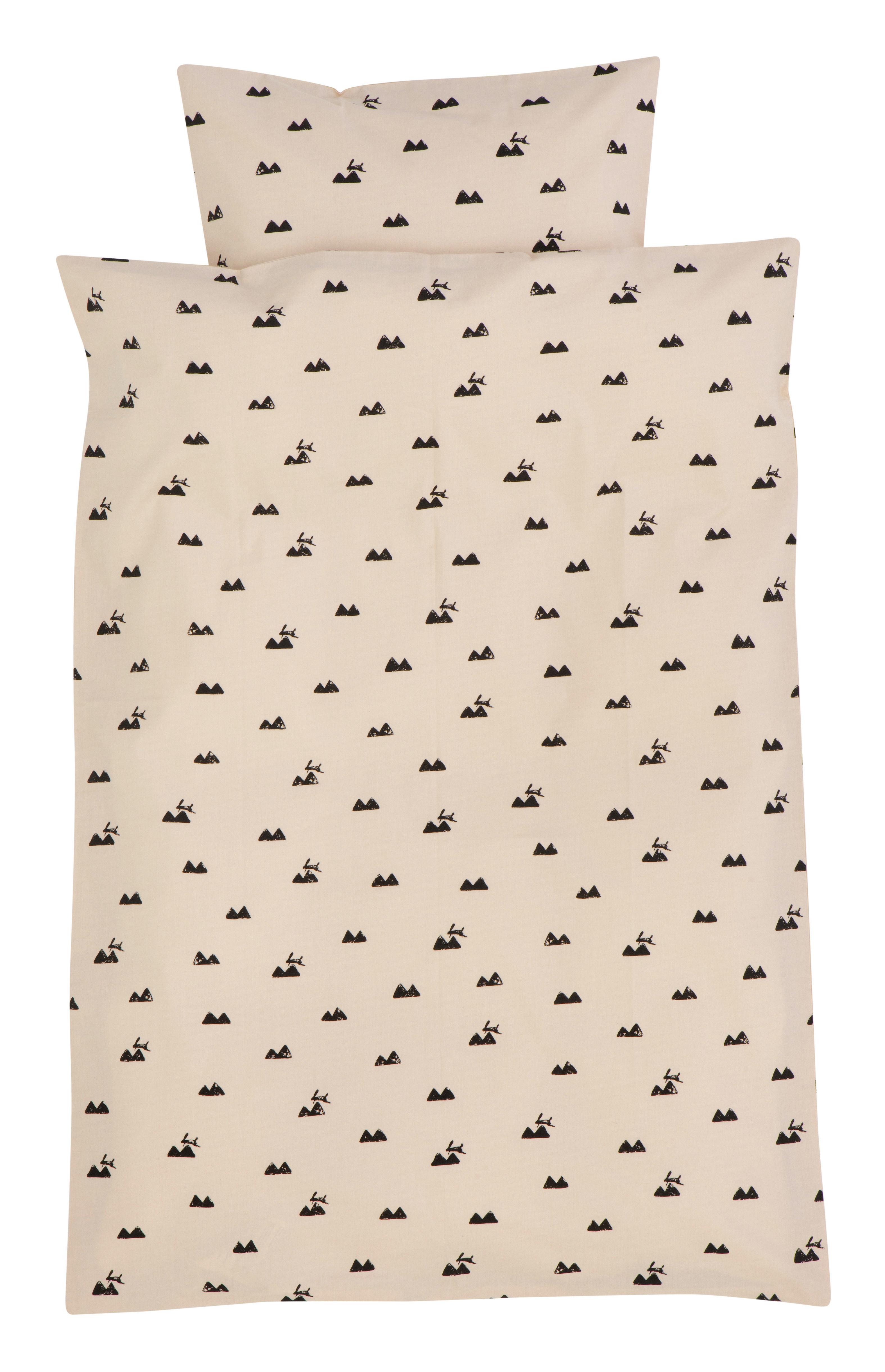 Déco - Pour les enfants - Parure de lit enfant Rabbit / 100 x 140 cm - Ferm Living - 100 x 140 cm - Rose & Noir - Coton