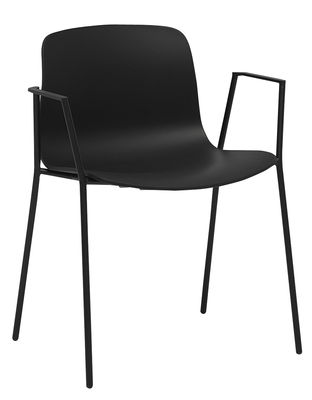 Arredamento - Sedie  - Sedia impilabile About a chair AAC18 / Con braccioli - 4 gambe in acciaio - Hay - Nero - Acciaio, Polipropilene