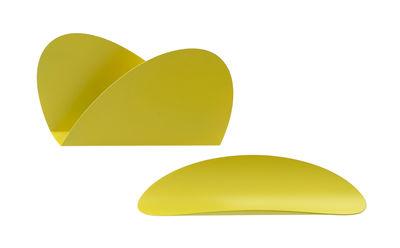 Set Ellipse pour bureau / 1 plateau + 1 porte-enveloppes - Alessi jaune en métal