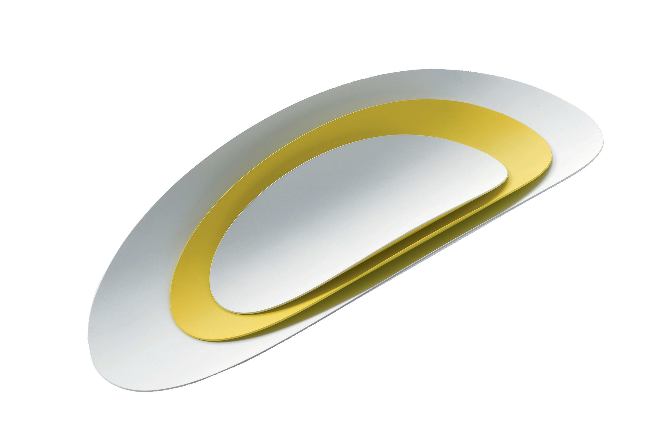Tableware - Trays - Ellipse Set - 3 stackable trays by Alessi - White & yellow - Steel