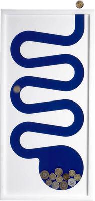 Dekoration - Spaßig und ausgefallen - Sparschwein zur Wandbefestigung / Gemälde - L 29 cm x H 59 cm - L'atelier d'exercices - Weiß & Rückwand blau - PMMA