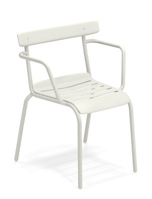 Furniture - Chairs - Miky Stackable armchair - / Metal by Emu - White - Varnished steel