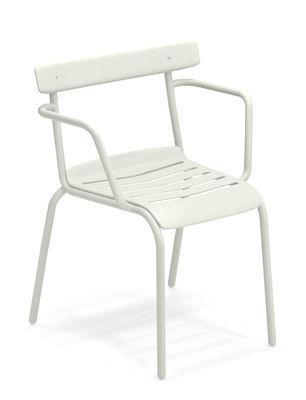 Möbel - Stühle  - Miky Stapelbarer Sessel / Metall - Emu - Weiß - gefirnister Stahl