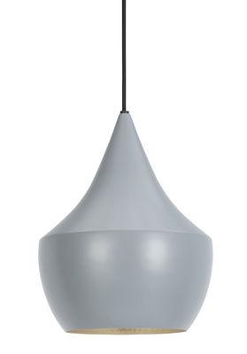 Luminaire - Suspensions - Suspension Beat Fat / Ø 24 cm x H 30 cm - Tom Dixon - Gris / Intérieur argent - Laiton