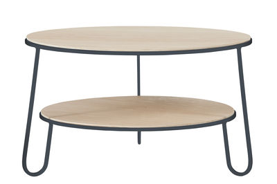 Table basse Eugénie Small / Ø 70 - Chêne - Hartô bois naturel,gris ardoise en métal