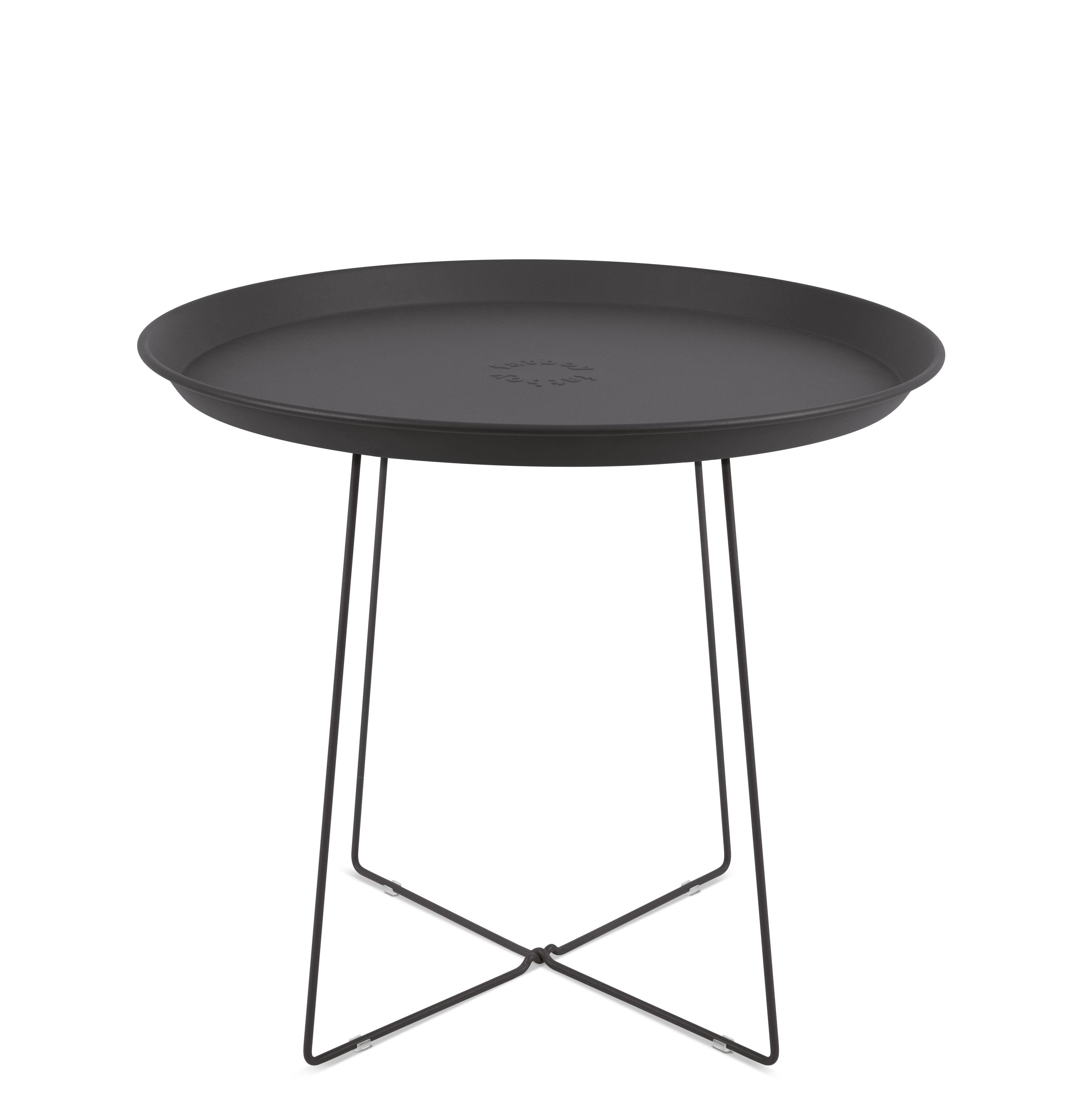 Mobilier - Tables basses - Table basse Plat-o / Plateau amovible - Ø 56 x H 46 cm - Fatboy - Gris Anthracite - Acier peint