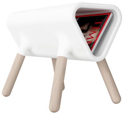 Table d'appoint Didier / Porte-revues - L 60 cm - Stamp Edition blanc en matière plastique/bois