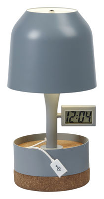 Decoration - High Tech - Hodge-Podge Table lamp - With alarm and USB port - H 30 cm by Forestier - Grey - Lacquered metal