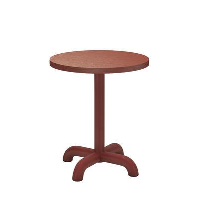 Arredamento - Tavolini  - Tavolino d'appoggio Unify - / Ø 40 cm - Rovere di Petite Friture - Rosso-marrone - Acciaio laccato, MDF rivestito in rovere