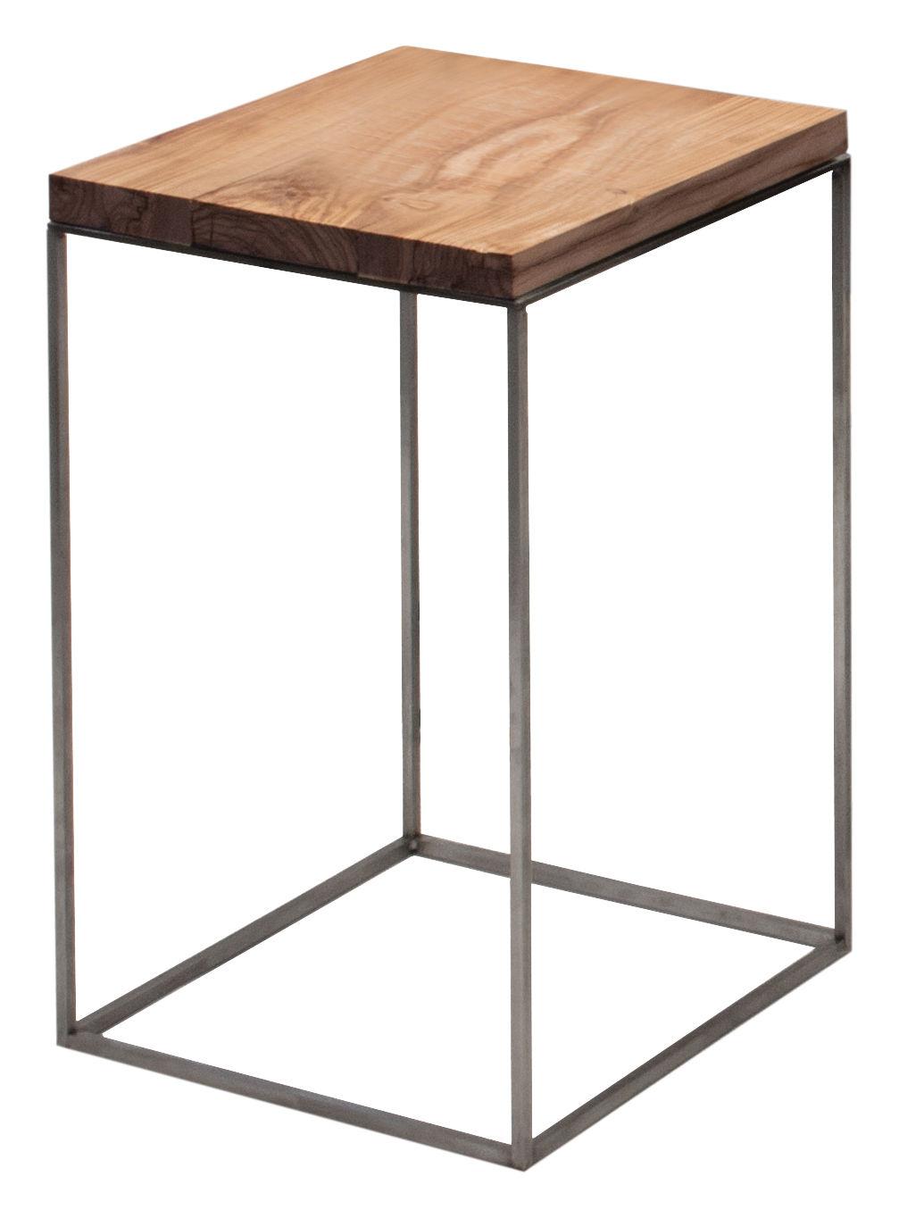 Arredamento - Tavolini  - Tavolino Slim Irony - / 31 x 31 x H 46 cm di Zeus - Top legno / Base nera ramata -  Bois de cèdre, Acciaio