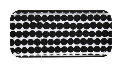 Tableware - Trays - Räsymatto Tray - / 15 x 32 cm by Marimekko - Räsymatto / White & Black - Laminated birch
