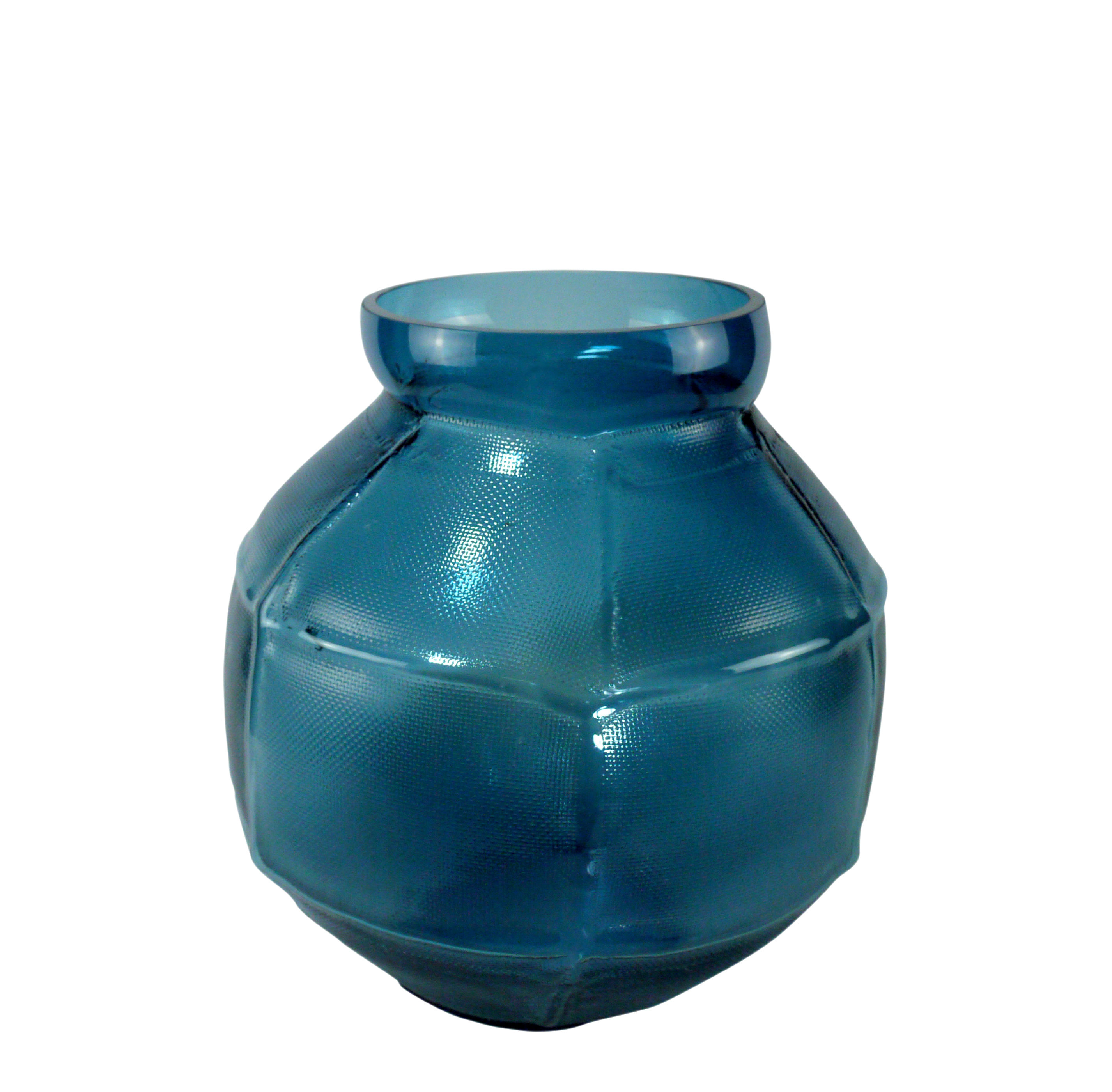Decoration - Vases - Trace rond Vase - / L 28 x H 35 cm by Vanessa Mitrani - Peacock blue - Blown glass