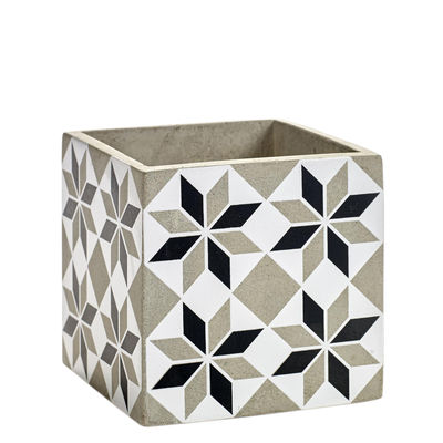 Outdoor - Vasi e Piante - Vaso Marie Carreau M - / 13 x 13 cm - Cemento smaltato di Serax - Grigio - Béton émaillé