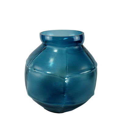 Interni - Vasi - Vaso Trace rond - / L 28 x H 35 cm - Fatto a mano di Vanessa Mitrani - Blu anatra - vetro soffiato
