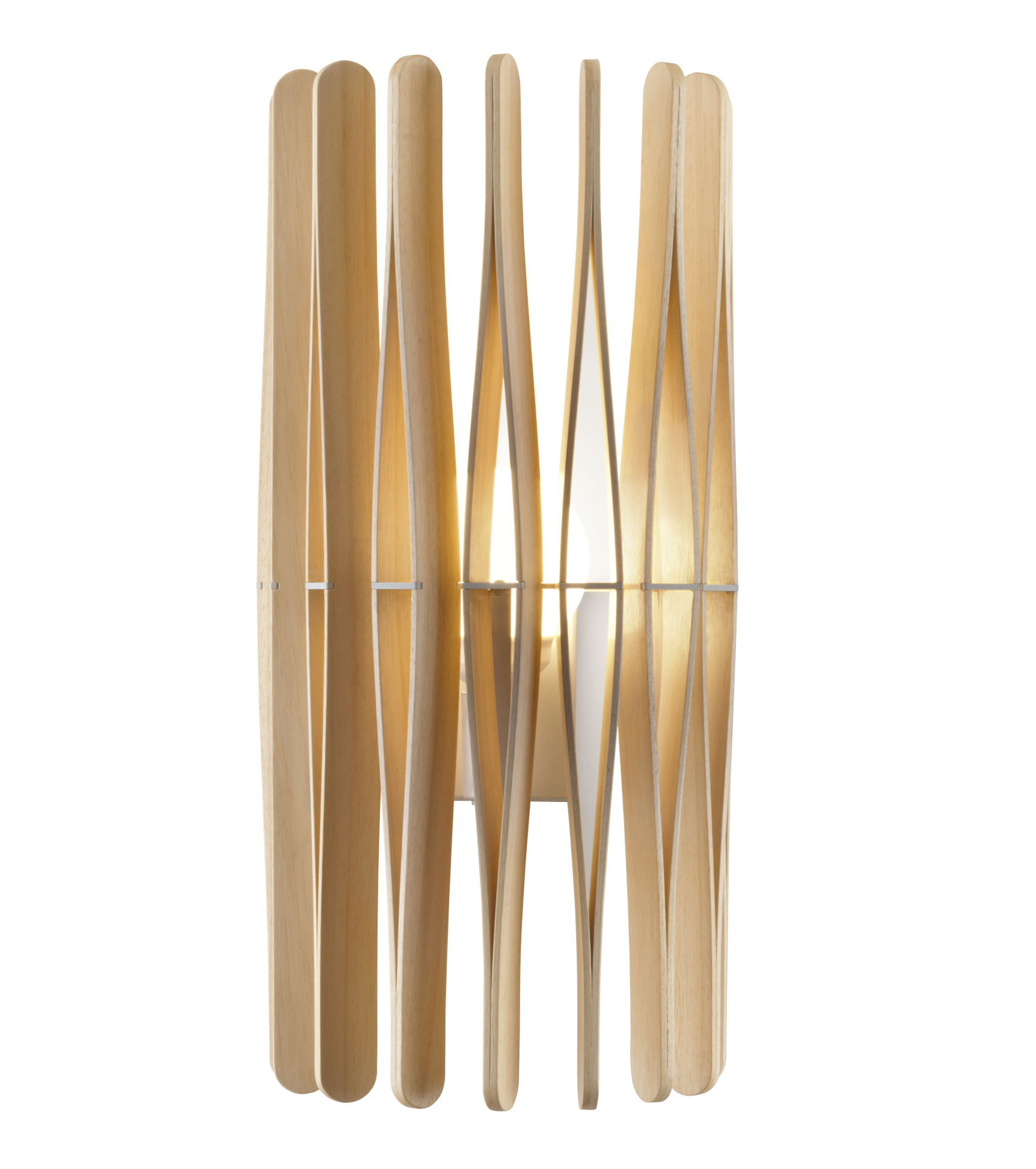 Lighting - Wall Lights - Stick Wall light by Fabbian - Natural wood - Ayous wood, Varnished metal