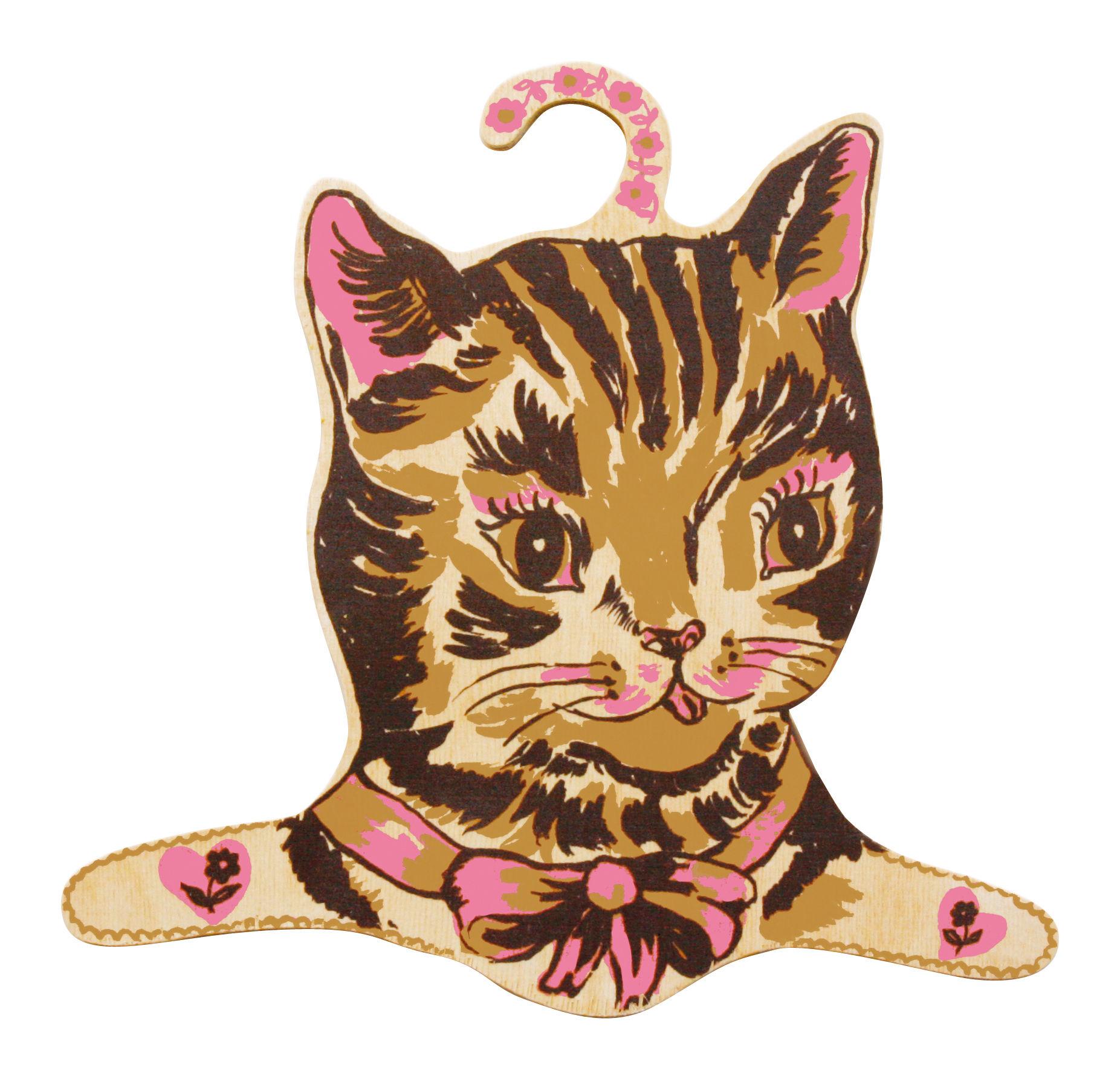 Interni - Per bambini - Attaccapanni Miaou! di Domestic - Gatto multicolore - Compensato di abete