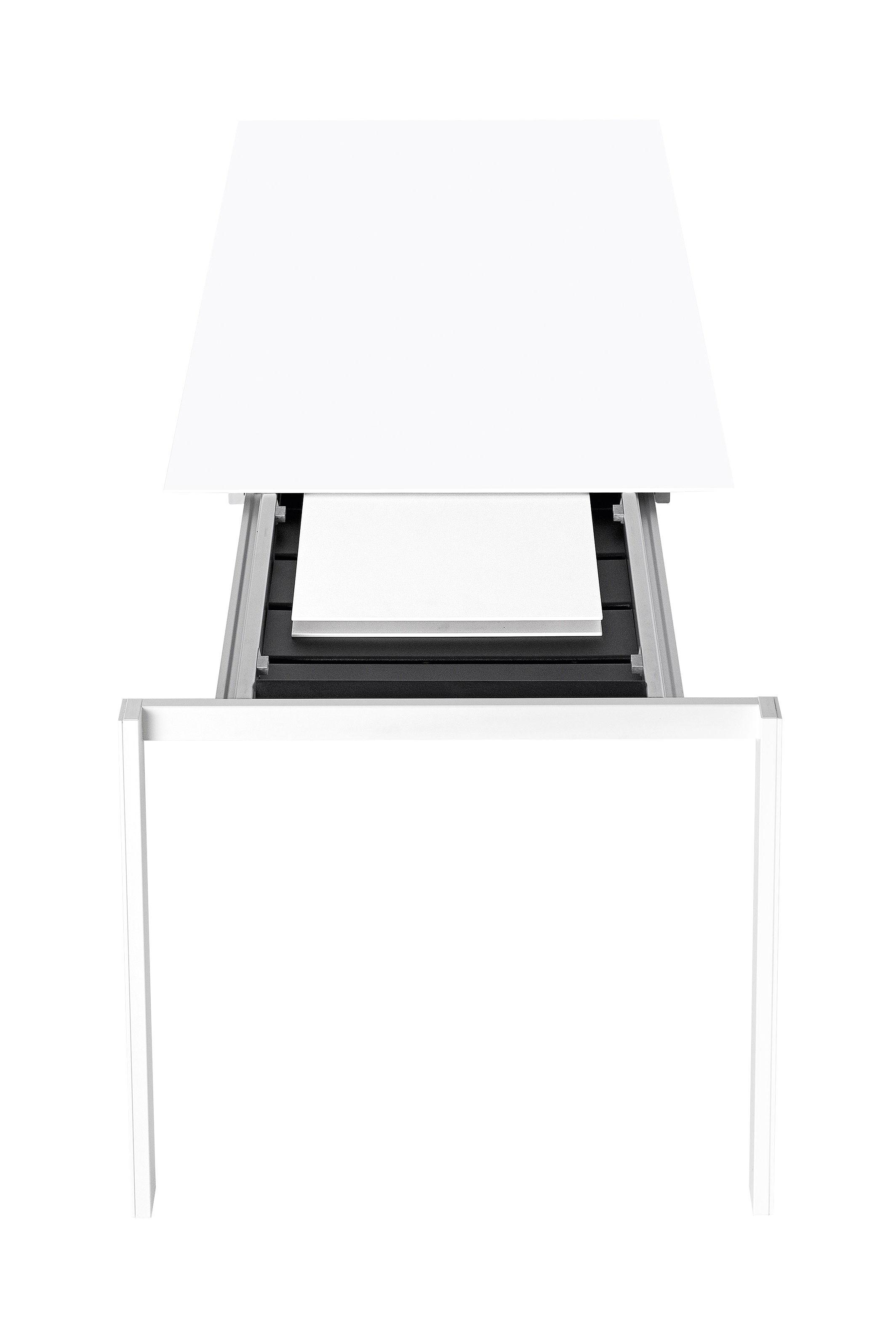 Outdoor - Tische - Thin-K Ausziehtisch / outdoorgeeignet - L 123 bis 203 cm - Kristalia - Aluminium / weiß - eloxiertes Aluminium, lackierter Stahl, lackiertes Aluminium