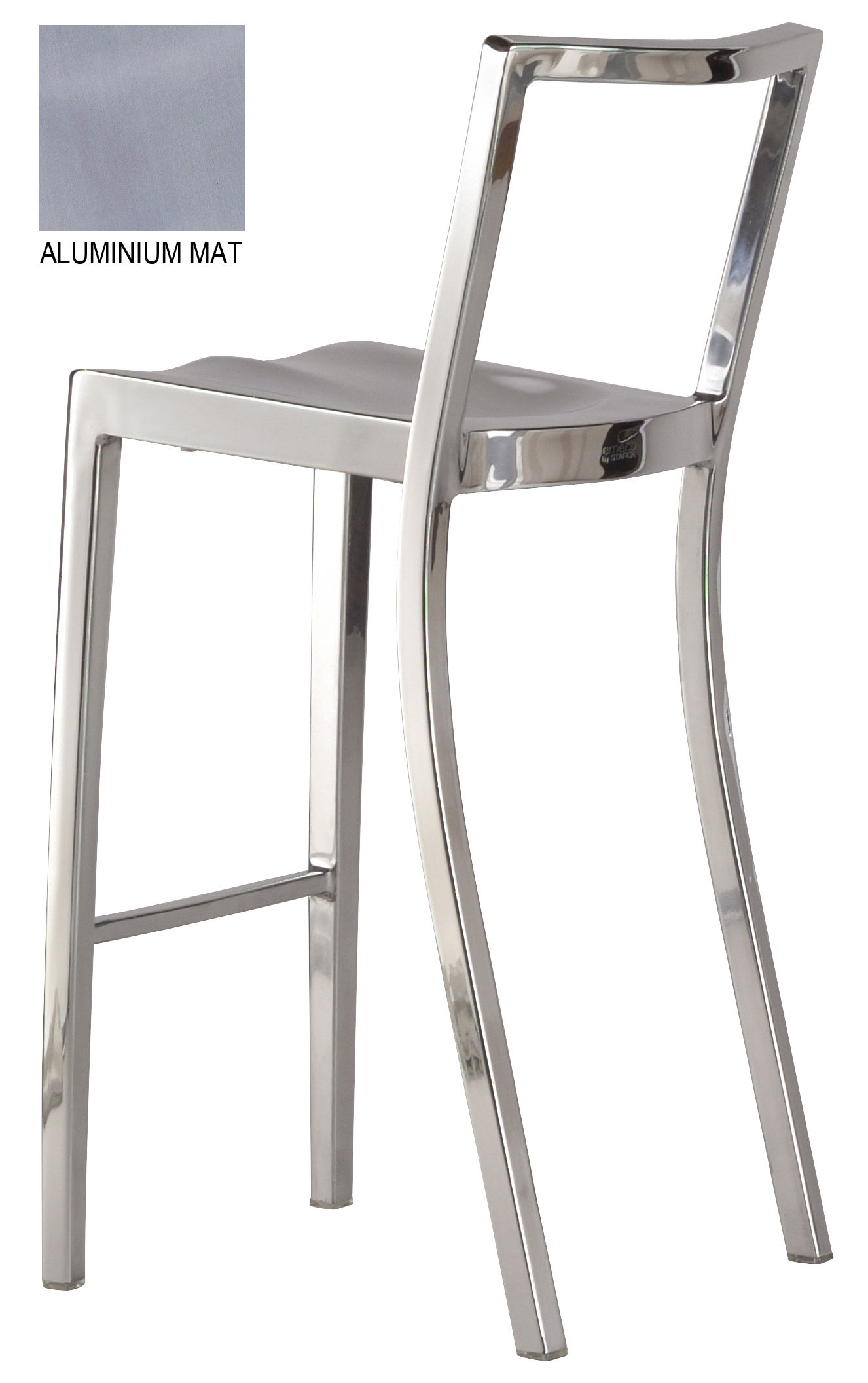 Furniture - Bar Stools - Icon Outdoor Bar chair - H 75 cm - Metal by Emeco - Brushed aluminium - Aluminium brossé recyclé