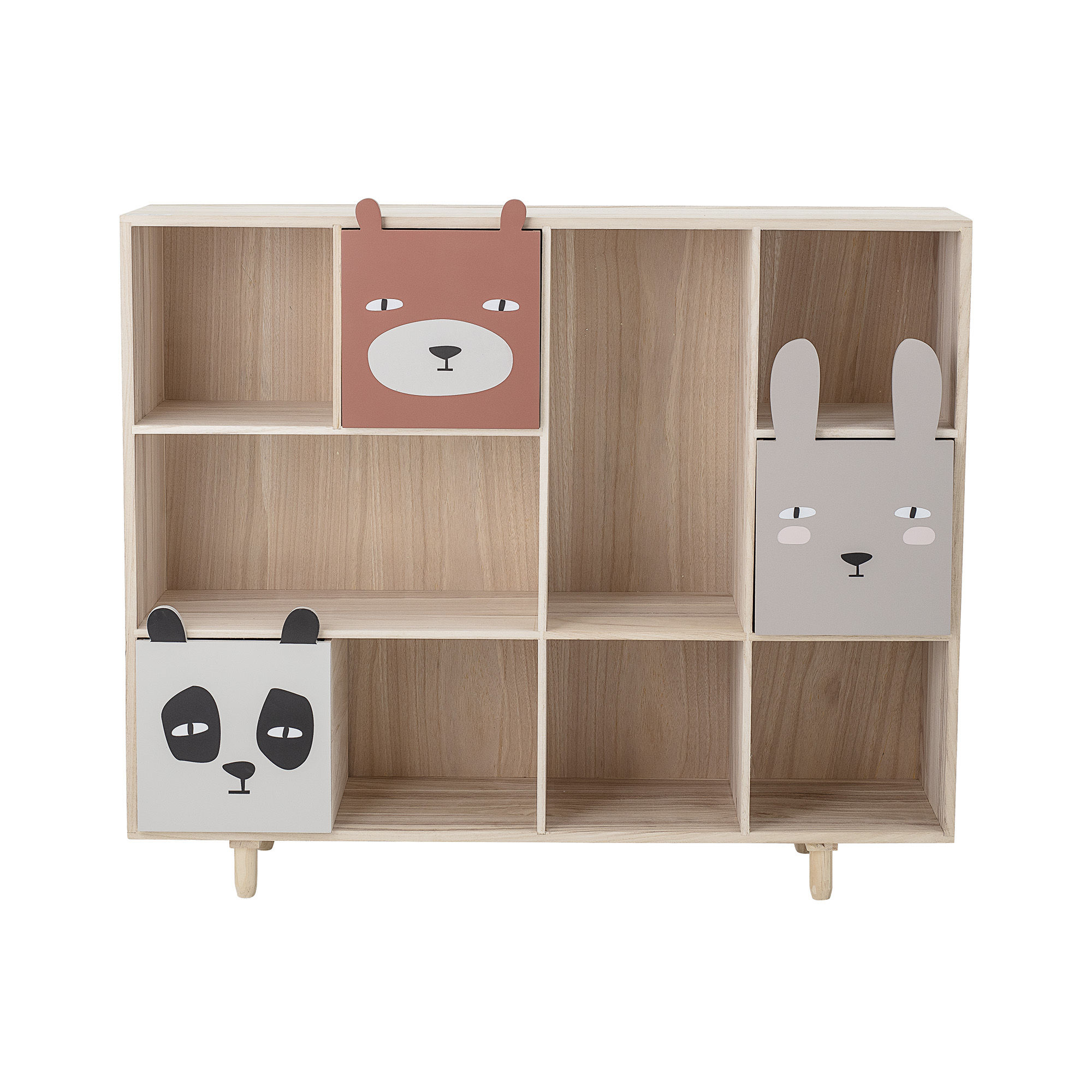 Furniture - Bookcases & Bookshelves - Animaux Bookcase - / 3 drawers - L 107 x H 94 cm by Bloomingville - Grey / Wood - MDF, Paulownia wood