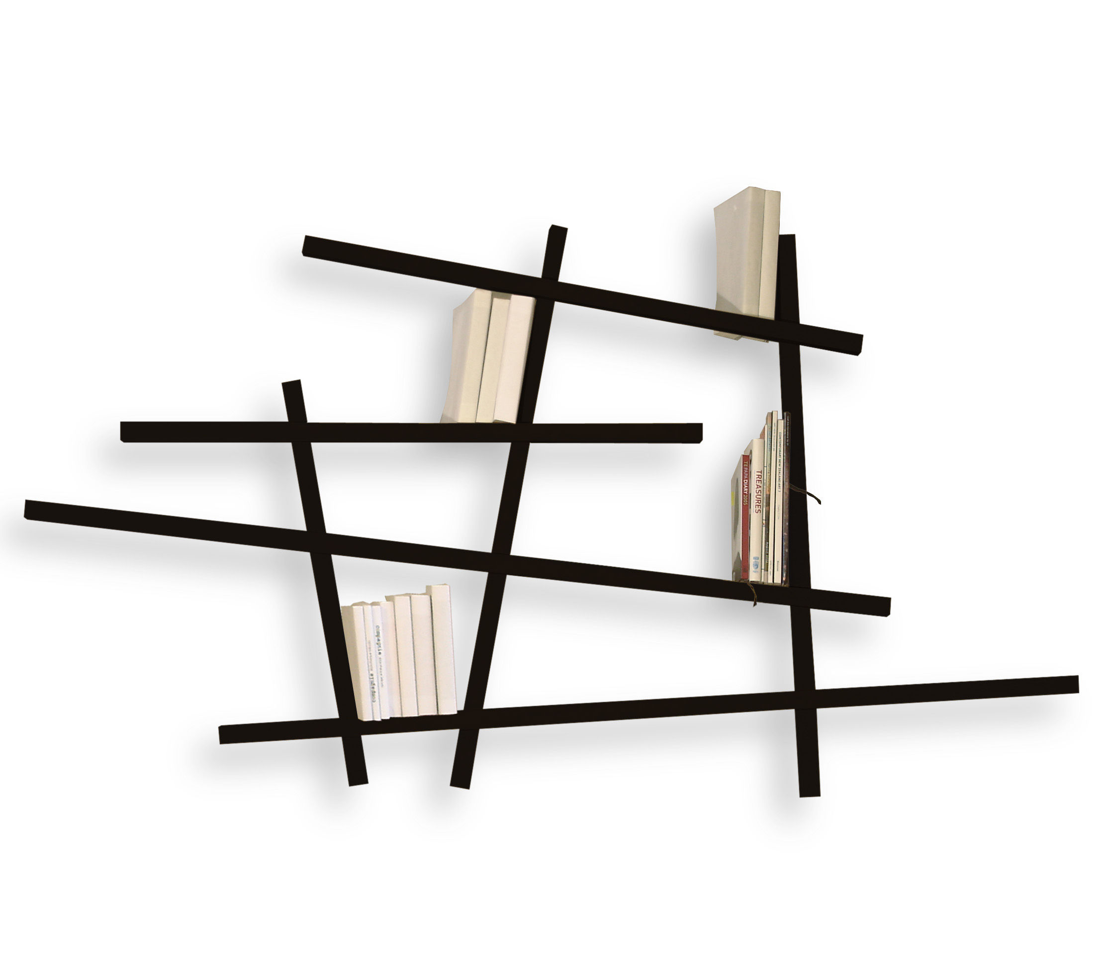 Furniture - Bookcases & Bookshelves - Mikado Bookcase - Small by Compagnie - Black - Lacquered beechwood
