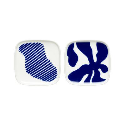 Arts de la table - Assiettes - Coupelle Ruudut / 10 x 10 cm - Set de 2 - Marimekko - Ruudut / Blanc, bleu - Grès