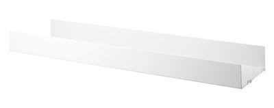 Mobilier - Etagères & bibliothèques - Etagère String System / Métal perforé, rebord HAUT - L 78 x P 20 cm - String Furniture - Blanc - Acier laqué