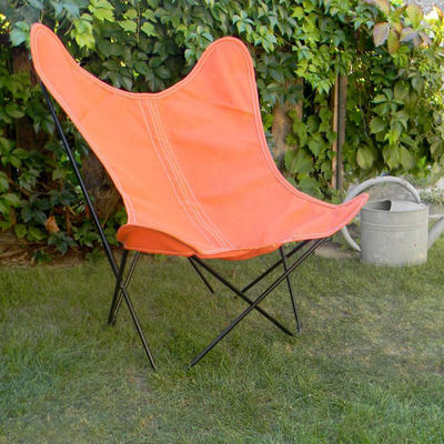 Chaise AA Butterfly OUTDOOR / Batyline - Structure noire - AA-New Design rouge/marron en tissu