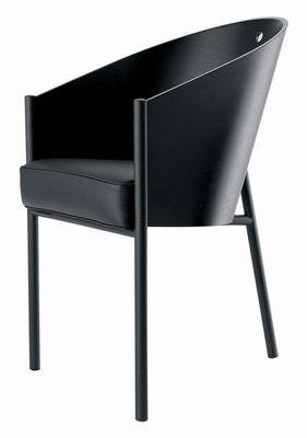 Mobilier - Chaises, fauteuils de salle à manger - Fauteuil Costes / Coque bois - Driade - Ebène / Pieds noirs - Aluminium poli, Cuir, Rouvre