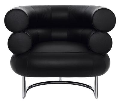 Möbel - Mobilier d'exception - Bibendum Gepolsterter Sessel - ClassiCon - Leder schwarz - Leder, verchromter Stahl