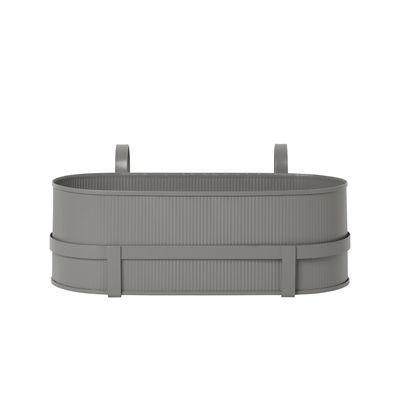 Jardin - Pots et plantes - Jardinière Bau / Avec support - Métal / L 45 cm - Ferm Living - Gris chaud - Acier galvanisé