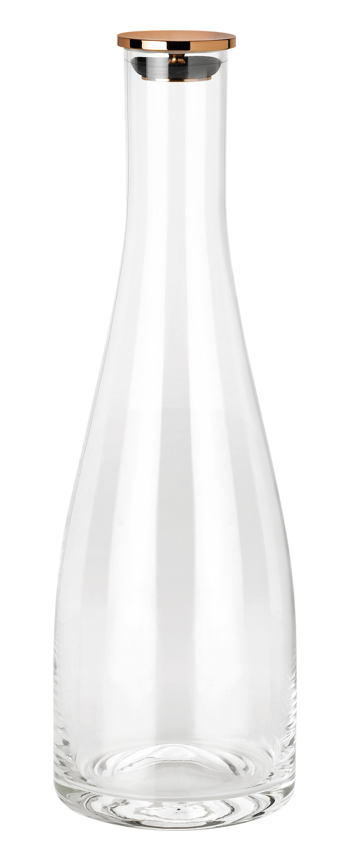 Tischkultur - Karaffen - Flow Karaffe / 1l - mit Verschluss - Stelton - Transparent / Kupfer - Glas, Kupfer