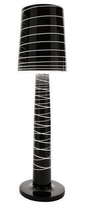 Luminaire - Lampadaires - Lampadaire Lady Jane Outdoor / H 208 cm - Serralunga - Noir laqué / Rayures - Polyéthylène