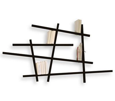 Arredamento - Scaffali e librerie - Libreria Mikado Small - colorata - Modello piccolo di Compagnie - Nero - Faggio laccato