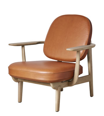 Furniture - Armchairs - JH97 Low armchair - by Jaime Hayon / Leather by Fritz Hansen - Brown leather / Light oak - Foam, Recycled genuine leather, Solid oak