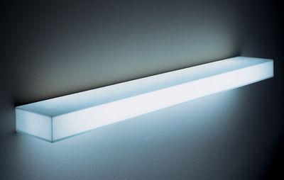 Furniture - Bookcases & Bookshelves - Light Light Luminous shelf by Glas Italia - White - L : 130 cm - Glass