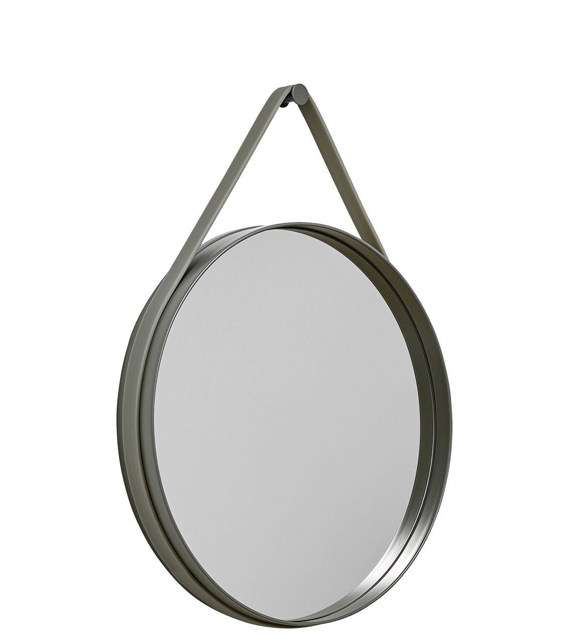 Déco - Miroirs - Miroir mural Strap / Ø 50 cm - Hay - Kaki - Acier laqué, Silicone