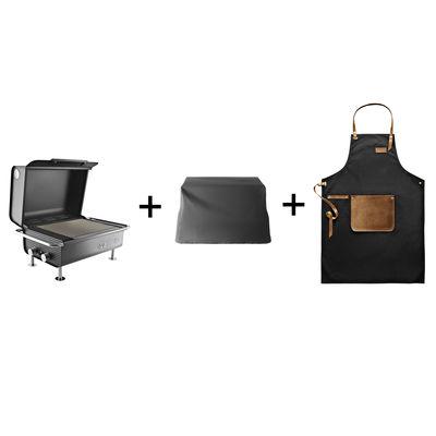 Pack promo / Barbecue à gaz Box + Housse de protection BBQ + Tablier spécial BBQ - Eva Solo noir en métal