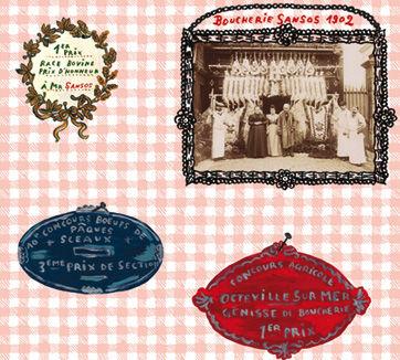 Déco - Stickers, papiers peints & posters - Papier peint Portraits de boucher / 1 lé - Domestic - Portraits de boucher / Multicolore - Papier intissé