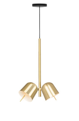 Lighting - Pendant Lighting - HÔ! Pendant - / 2 adjustable spotlights by Spécimen Editions - Brass - Brushed brass, Copper