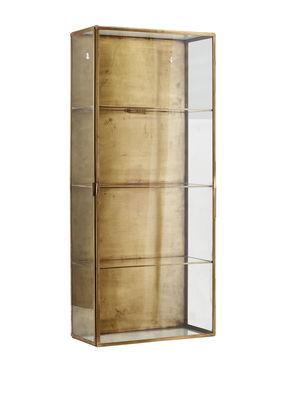 Rangement mural Cabinet Large / Vitrine - L 35 x H 80 cm - House Doctor transparent,laiton en métal