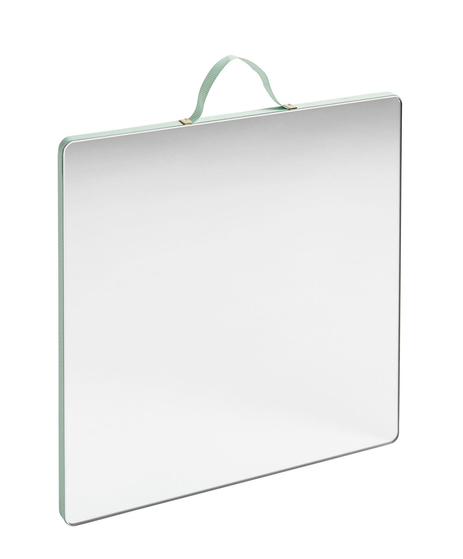 Interni - Specchi - Specchio murale Ruban Large - / Quadrato - 26 x 26 cm di Hay - Verde menta - Compensato di rovere, Ottone, Tessuto poliestere, Vetro