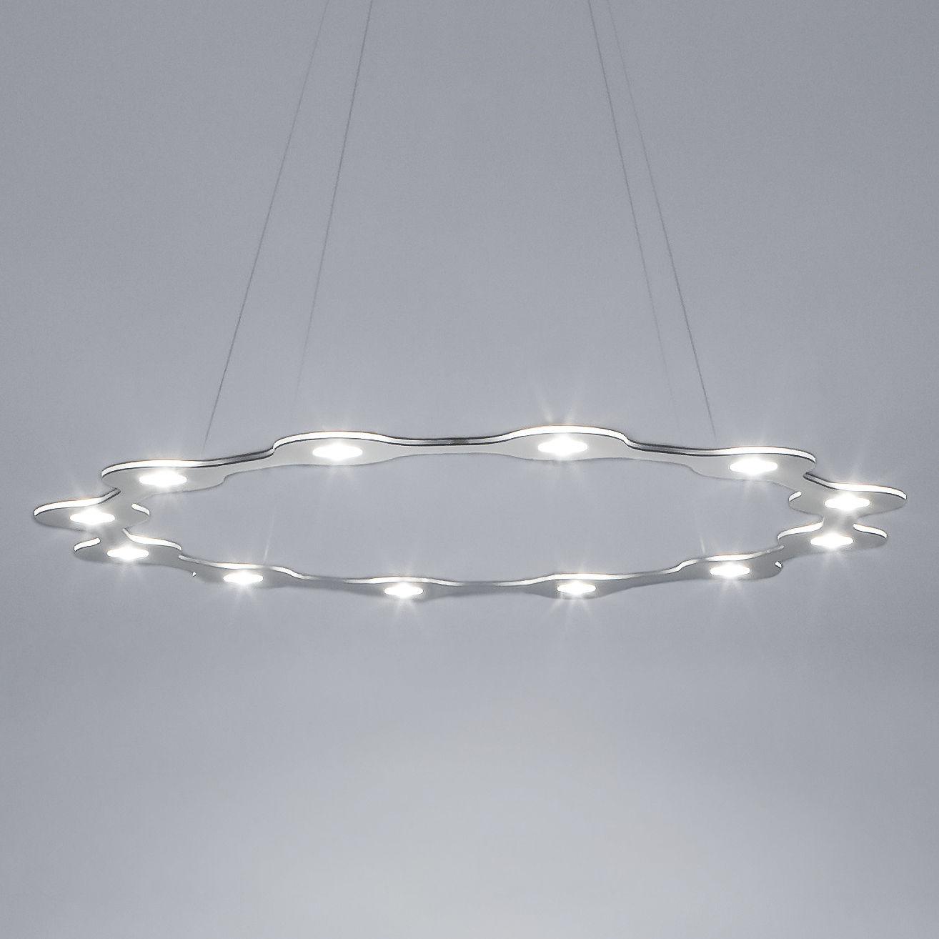 Luminaire - Suspensions - Suspension Flat Ring 12 / LED - Large Ø 98 cm - Lumen Center Italia - Aluminium - Aluminium anodisé