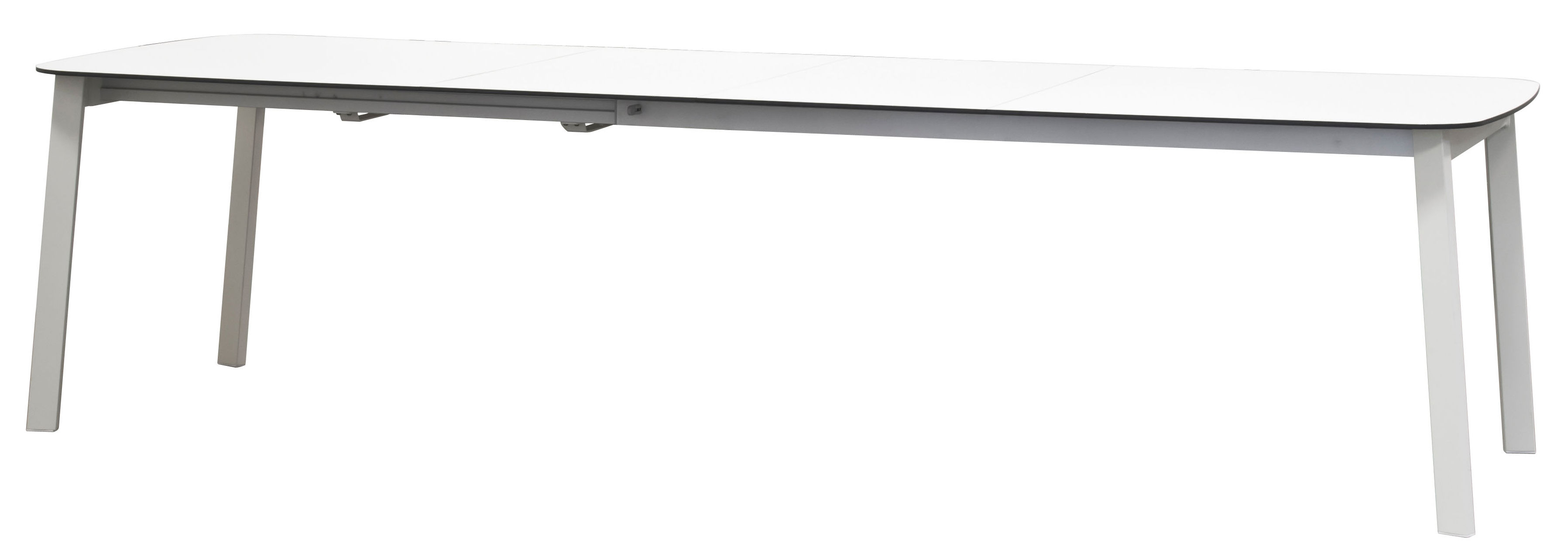 Jardin - Tables de jardin - Table à rallonge Shine / Plateau HPL - L 180 à 292 cm - Emu - Blanc / Plateau blanc - Aluminium verni, HPL